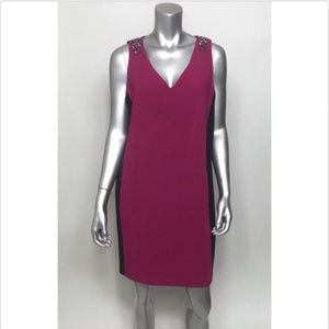 Adrianna Papell Dress Embellished Pink Pockets